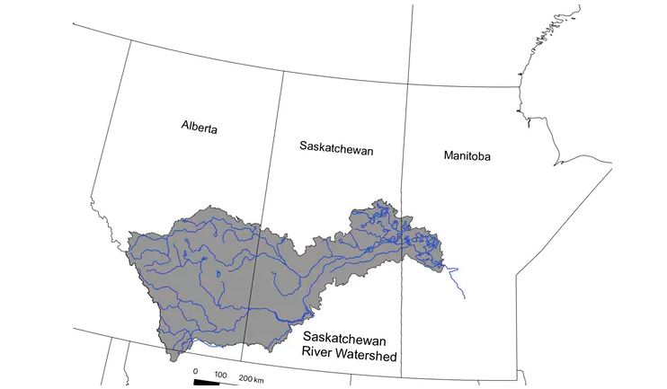 The Saskatchewan River watershed extends over much of the agricultural land in the Canadian Prairies.Author provided