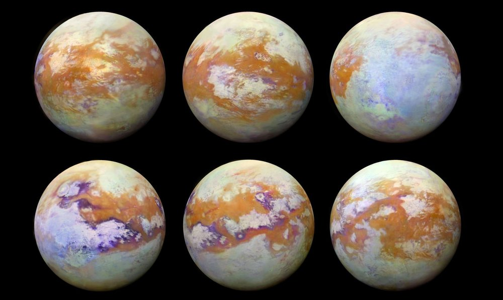 A global mosaic of the surface of Titan, thanks to the infrared eyes of the Cassini spacecraft. - Image Credit: NASA/JPL-Caltech/University of Nantes/University of Arizona