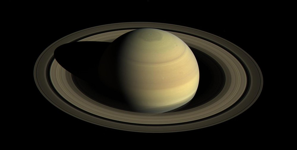 A view from NASA's Cassini spacecraft shows Saturn's northern hemisphere in 2016 as that part of the planet nears its northern hemisphere summer solstice. A year on Saturn is 29 Earth years; days only last 10:33:38, according to a new analysis of Cassini data. - Image Credit: NASA/JPL-Caltech/Space Science Institute