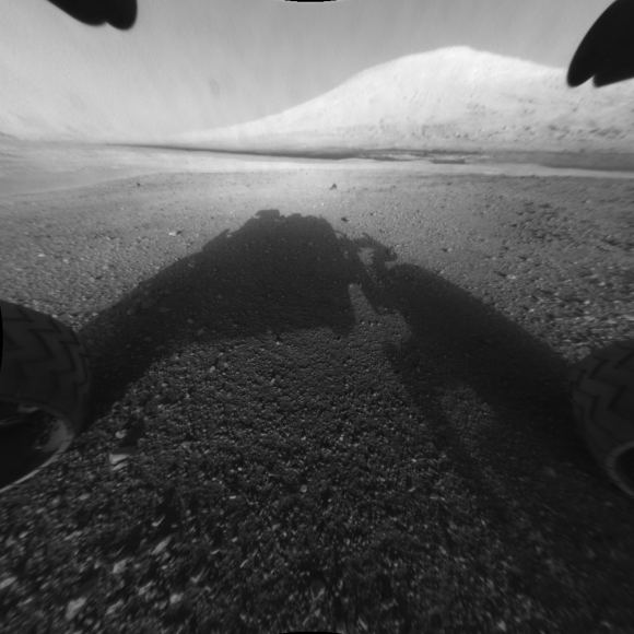MSL Curiosity captured this image from its landing site at Gale Crater. In the distance is Mt. Sharp, or Aeolis Mons, Curiosity's eventual target. - Image Credit: By NASA/JPL-Caltech.