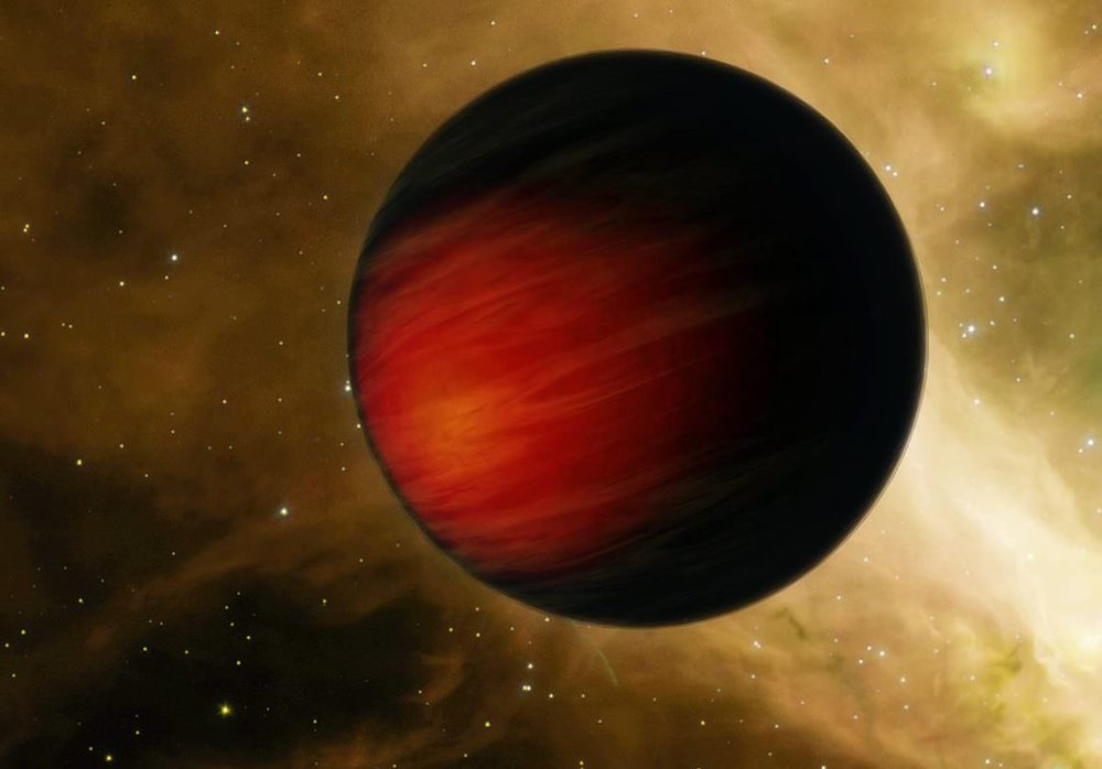 """Artist's concept of Jupiter-sized exoplanet that orbits relatively close to its star (aka. a """"hot Jupiter""""). - Image Credit: NASA/JPL-Caltech)"""