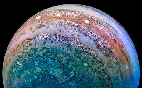 Jupiter likely formed in the outer Solar System, then migrated closer to the Sun, before ending up in its current orbit. Jupiter's South Pole, taken during a Juno flyby, Dec 16, 2017. - Image credit: NASA / JPL-Caltech / SwRI / MSSS / David Marriott
