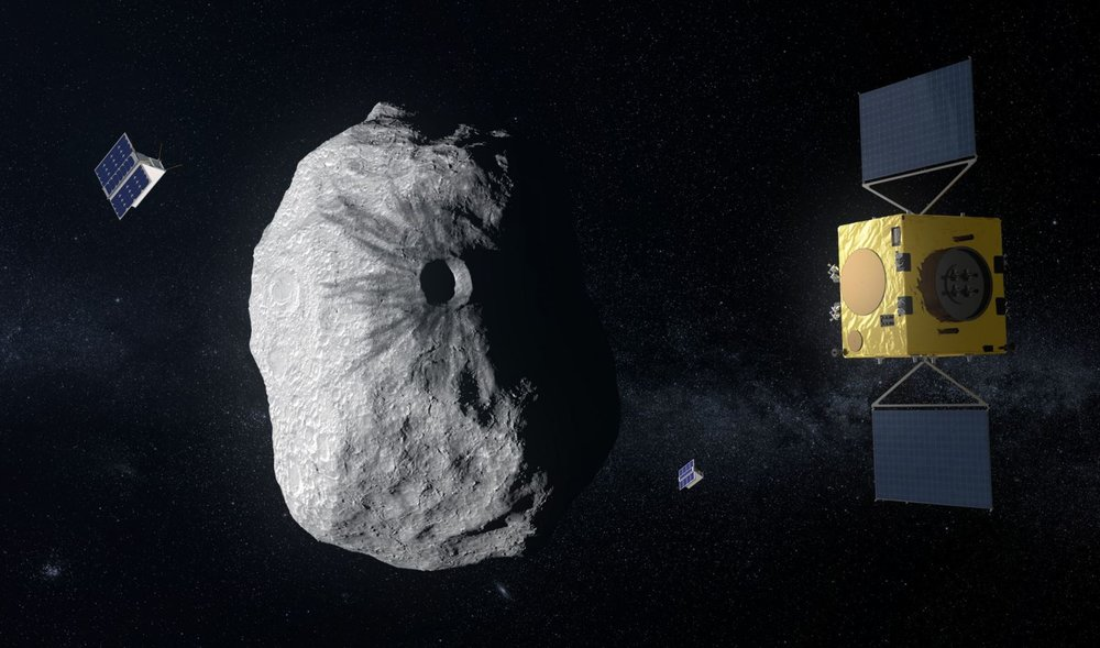 ESA's Hera mission concept, currently under study, would visit the Didymos system, which consists of a 2,550-foot-wide (780 meters) asteroid and its 525-foot (160 m) moon. Hera would study the aftermath of the impact caused by NASA's DART spacecraft on the smaller body. - Image Credit: ESA-ScienceOffice.org