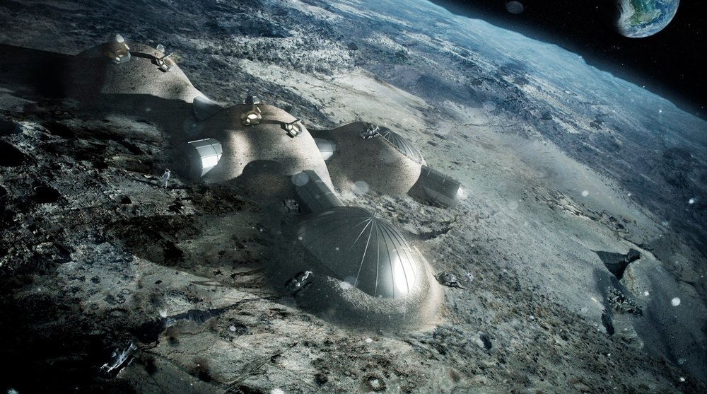 Multi-dome lunar base being constructed, based on the 3D printing concept - Image Credits: ESA/Foster + Partners