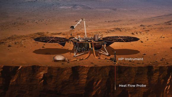 An illustration of the HP3 heat probe deployed on Mars. - Image Credit: NASA/JPL.