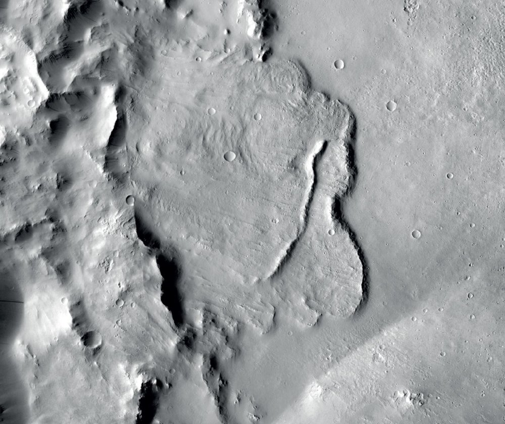 Example of features identified in a deep basin on Mars that show it was influenced by groundwater billions of years ago.   - Image Credit:  NASA/JPL-Caltech/MSSS
