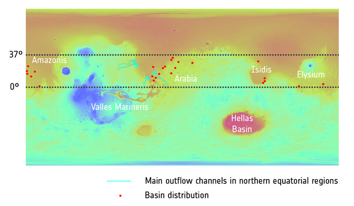 Distribution of once-watery basins on Mars  - Image Credit:  Topography: NASA/MGS/MOLA; Crater distribution: F. Salese et al (2019)