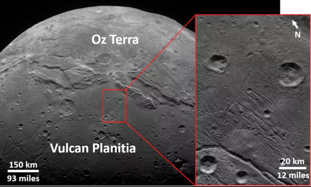 Details of the ancient cratered surface of Charon's Vulcan Planitia. - Image Credit: NASA/Johns Hopkins University Applied Physics Laboratory/Southwest Research Institute/K. Singer