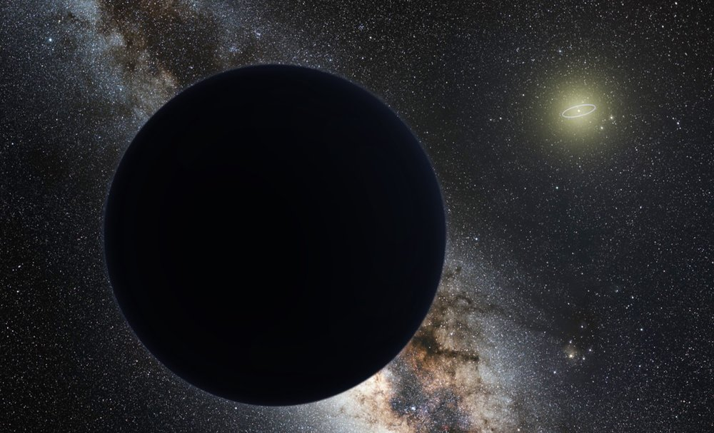 Artist's impression of Planet Nine as an ice giant eclipsing the central Milky Way, with a star-like Sun in the distance. Neptune's orbit is shown as a small ellipse around the Sun. - Image Credit:  nagualdesign; Tom Ruen via Wikimedia Commons