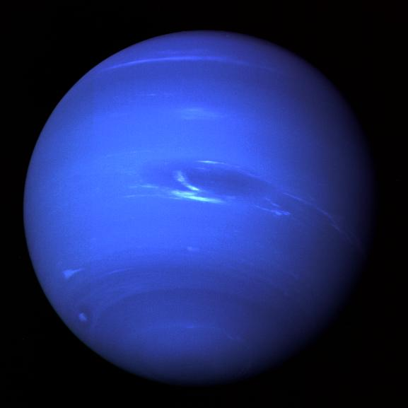 The existence of Neptune was inferred by its gravitational effect on other bodies long before it was ever observed. Image Credit:: NASA/JPL