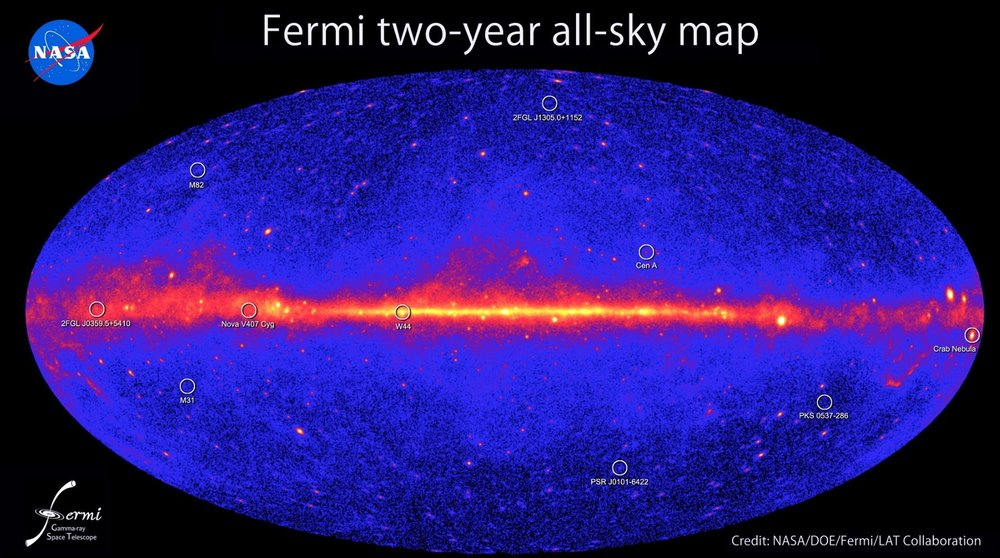 Fermi Second catalog of Gamma Ray Sources, constructed over two years and released in 2011. Credit: NASA/DOE/Fermi LAT Collaboration