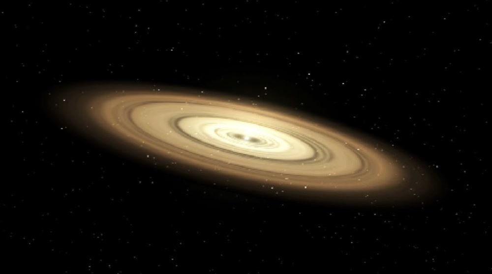 Scientists think planets start off as mere grains of dust. They emerge from giant disks of gas and dust that circle young stars. Gravity and other forces cause material within the disk to collide and coalesce. (illustration) -   Credits: NASA's Jet Propulsion Laboratory