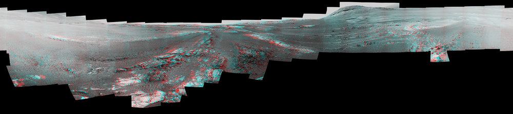 This image is a cropped version of the last 360-degree panorama taken by the Opportunity rover's Pancam from May 13 through June 10, 2018. The panorama appears in 3D when seen through blue-red glasses with the red lens on the left. - Image Credit: NASA/JPL-Caltech/Cornell/ASU (click image to enlarge)