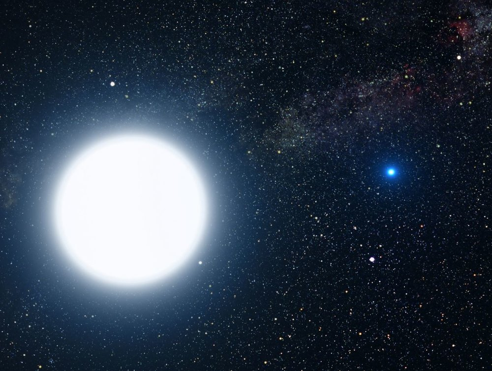 Artist's impression of Sirius A (a main-sequence type A star) and Sirius B (white dwarf companion). - Image Credits: NASA, ESA and G. Bacon (STScI)