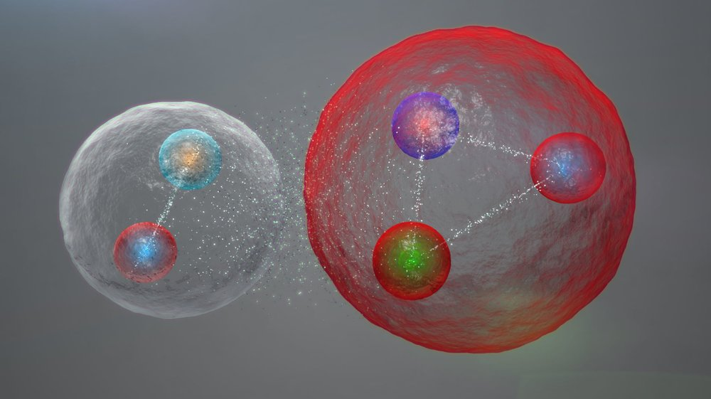 Illustration of the possible layout of the quarks in a pentaquark particle.- Image Credit:  Daniel Dominguez via CERN