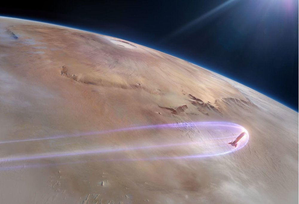 Artist's impression of the Starship entering Mars' atmosphere. - Image Credits: SpaceX