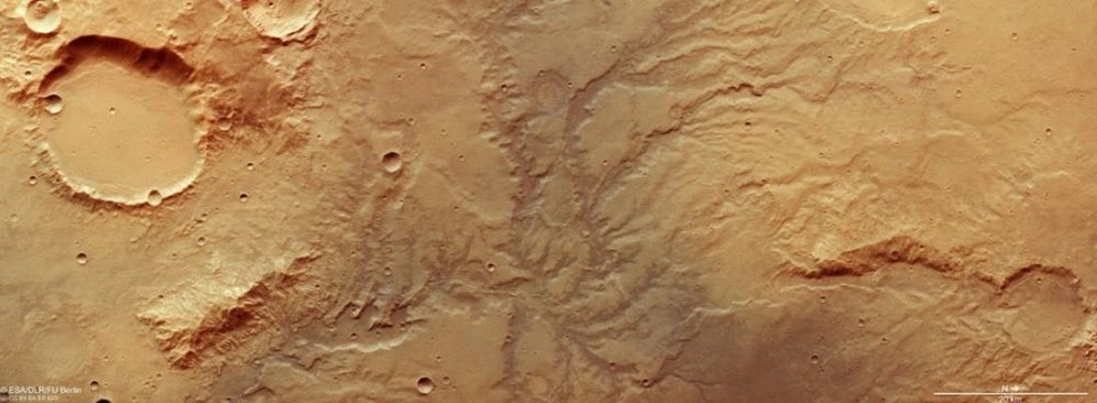 Images of Martian riverbeds captured by the European Space Agency's Mars Express Orbiter. - Image Credit: ESA/DLR/FU Berlin, CC BY-SA 3.0 IGO
