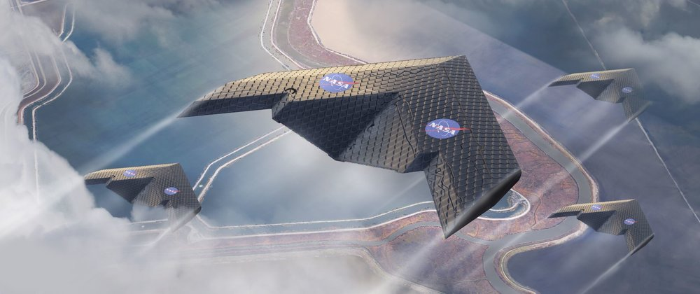 New way of fabricating aircraft wings could enable radical new designs, such as this concept, which could be more efficient for some applications. - Image Credit: Eli Gershenfeld, NASA Ames Research Center