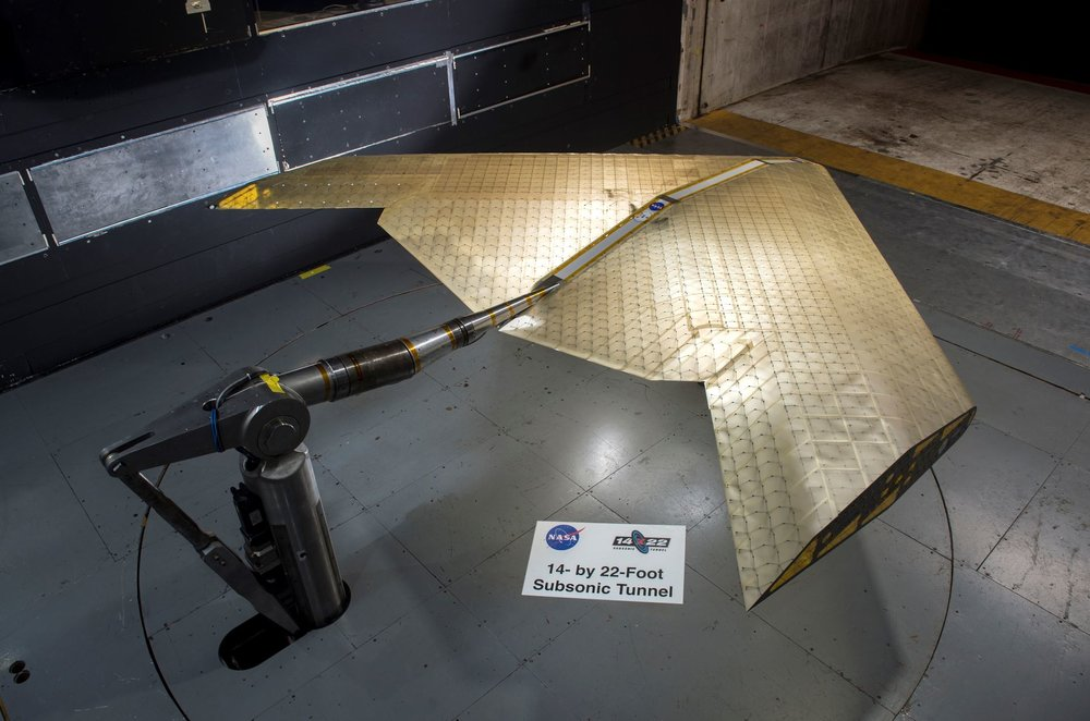 Wing assembly is seen under construction, assembled from hundreds of identical subunits. The wing was tested in a NASA wind tunnel. - Image Credit: Kenny Cheung, NASA Ames Research Center