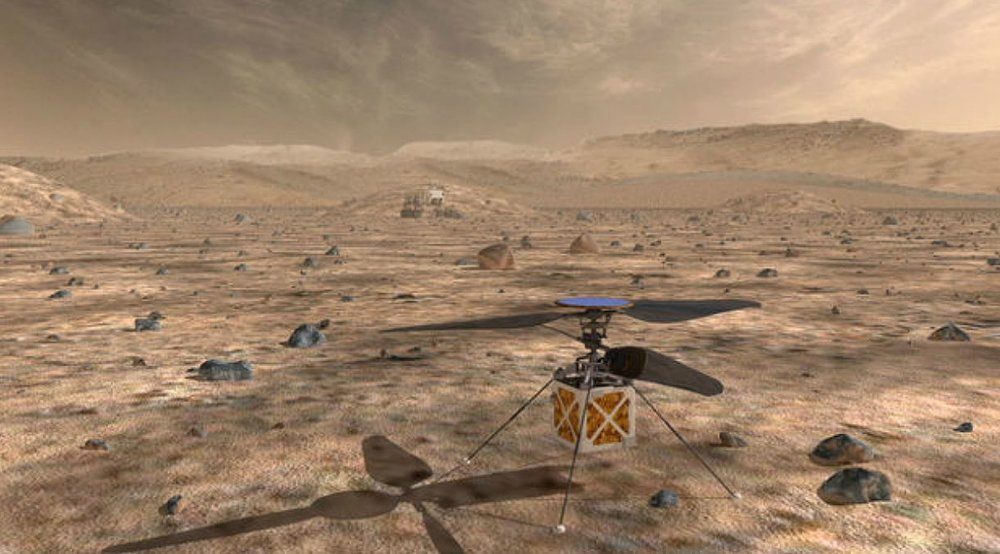 An artist's illustration of the Mars Helicopter sitting on the Martian surface. - Image Credit: NASA/JPL-Caltech