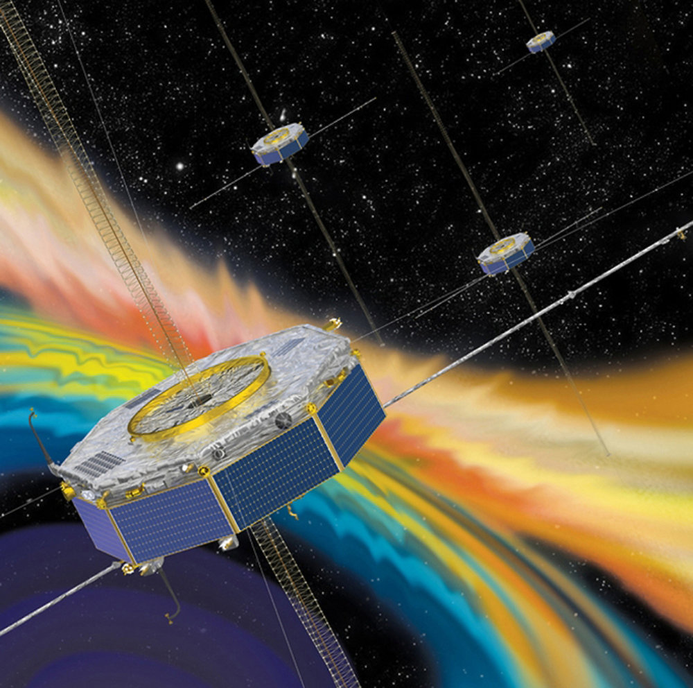 Illustration of the four MMS spacecraft in orbit in Earth's magnetic field. - Image Credit: NASA
