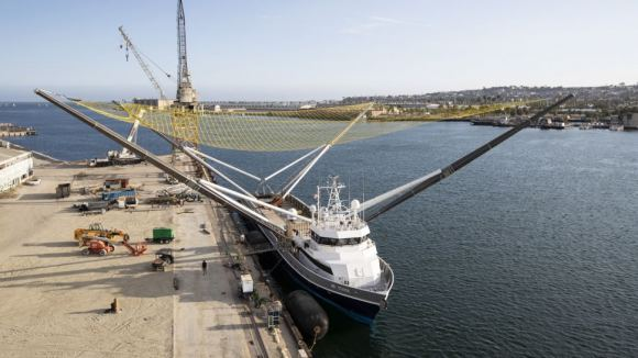 SpaceX's payload fairing retrieval boat, dubbed Mr. Steven. - Image Credit: SpaceX