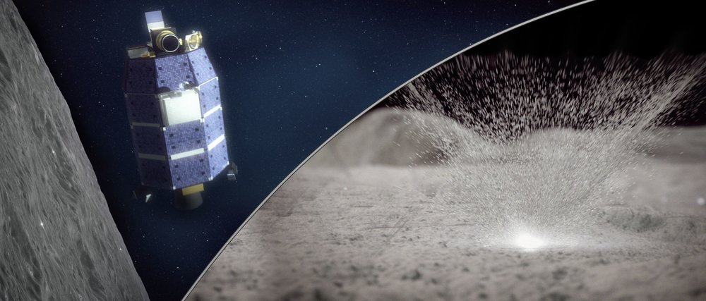 Artist's concept of the LADEE spacecraft (left) detecting water vapor from meteoroid impacts on the Moon (right). - Image Credit: NASA/Goddard/Conceptual Image Lab