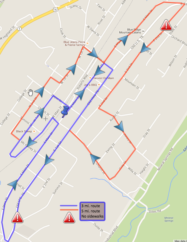 Blue Ridge Downtown 3-5 mile route