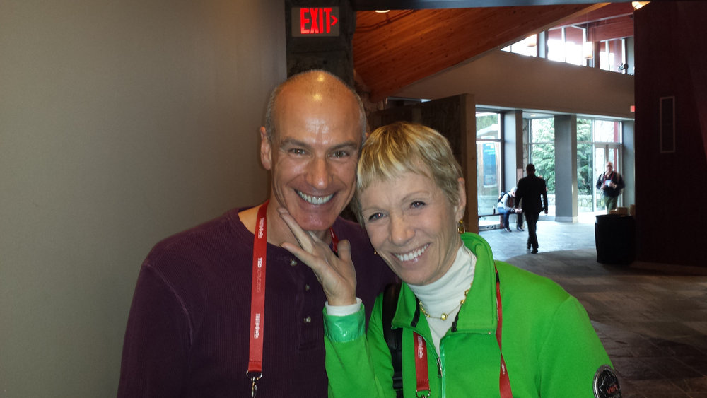TEDxLancaster Executive Director Bob Vasile with real estate mogul Barbara Corcoran of ABC's Shark Tank at TEDActive 2015 in Whistler, BC