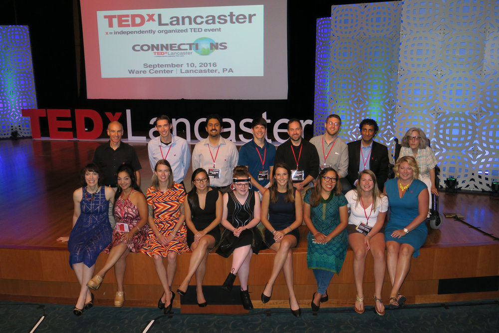 TEDxLancaster 2016's speakers and organizers (Front row-left to right) Alicia Nordstrom, Rubi Nicholas, Beth Valentin, Nga Chau, Grace Buckwalter, Amanda Brown, Haushala Thapa, Lindsey Gruber (organizer), Meredith Jorgensen Cooke (emcee) (Back row-left to right) Bob Vasile (Executive Director), Aaron Miller, Arfan Qureshi, Michael Pasrker, Chris Barnabei, Kyle Kuehn, Madap Sharma, Sue Schaffer (organizer), Chris Caldwell (speaker, not pictured)