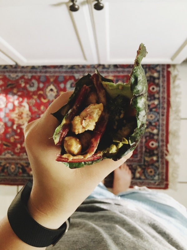 Collard Green Wrap with Hippie Sauce