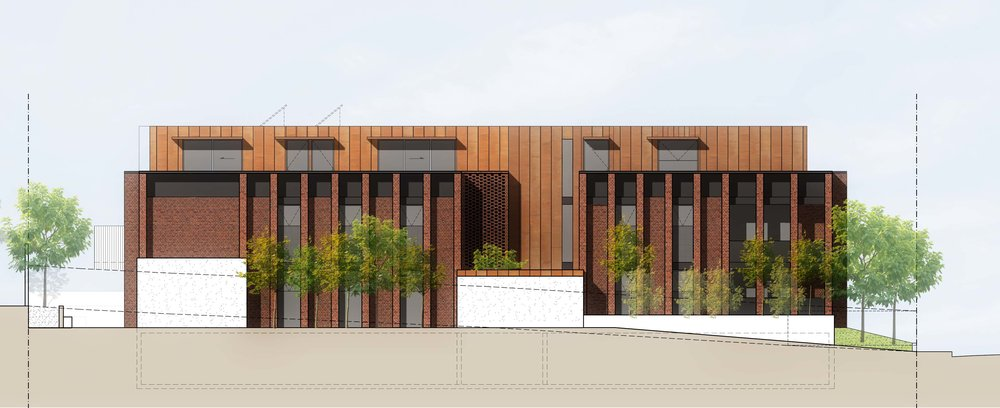 Proposed side elevation of a multi-res development in St Kilda, currently in Town Planning phase.