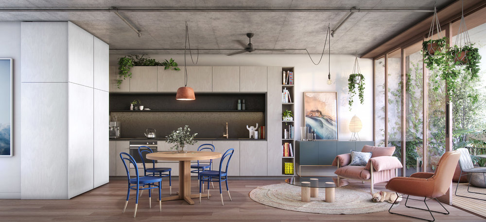 Hayball have ensured that all homes provide opportunities for connection and retreat, with carefully curated spaces for living.