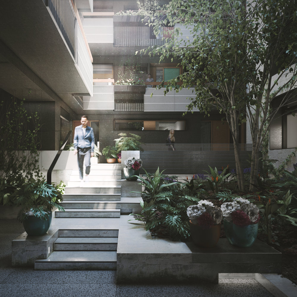 The central, private courtyard provides residents with dual outlook, natural light and cross ventilation.