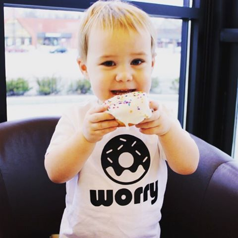 look at this little nugget rocking our 'donut worry' tee. can't tell which one is sweeter, baby boy or the donut? (thank you @savvysassymoms and @missamygene )