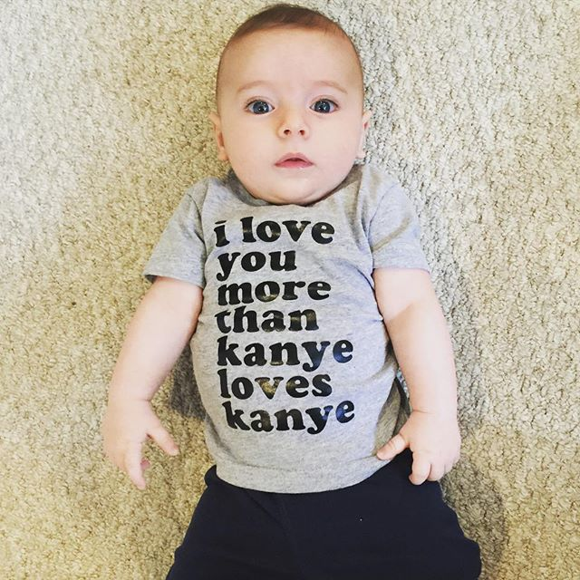 harrison rockin our 'love you more than kanye' is the best start to our day! #anchorandadorn (📷: @richellejones)
