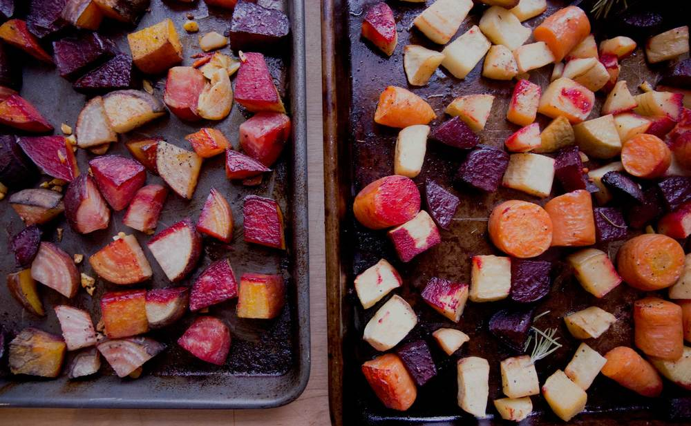 When in doubt - roast 'em!  Cut veggies into similar sized pieces 1-2 inches, drizzle with olive oil, toss with salt, pepper, fresh rosemary, and roast at 425 for 30-40 minutes, or until tender.  Share with loved ones.   Co-op Tip! Leftover roasted root veggies transform splendidly into breakfast hash or burrito filling.