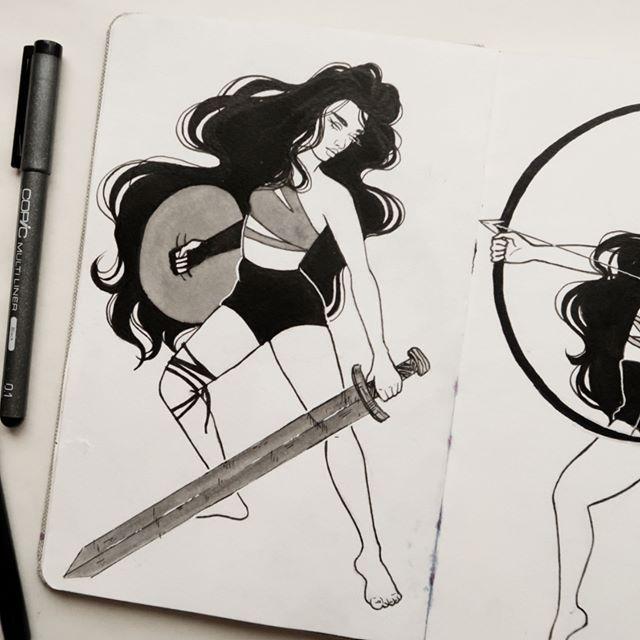 Another warrior babe 🗡🖤 #ink #inkdrawing #sketchbook #warrior