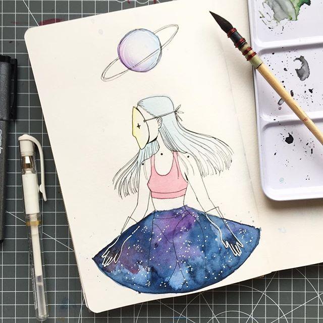 AQUARIL 2: space girl 💫 #watercolor #Aquaril2017 #Aquaril