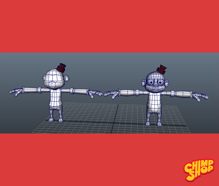 3D Character Wireframe - Low & Hi Resolution
