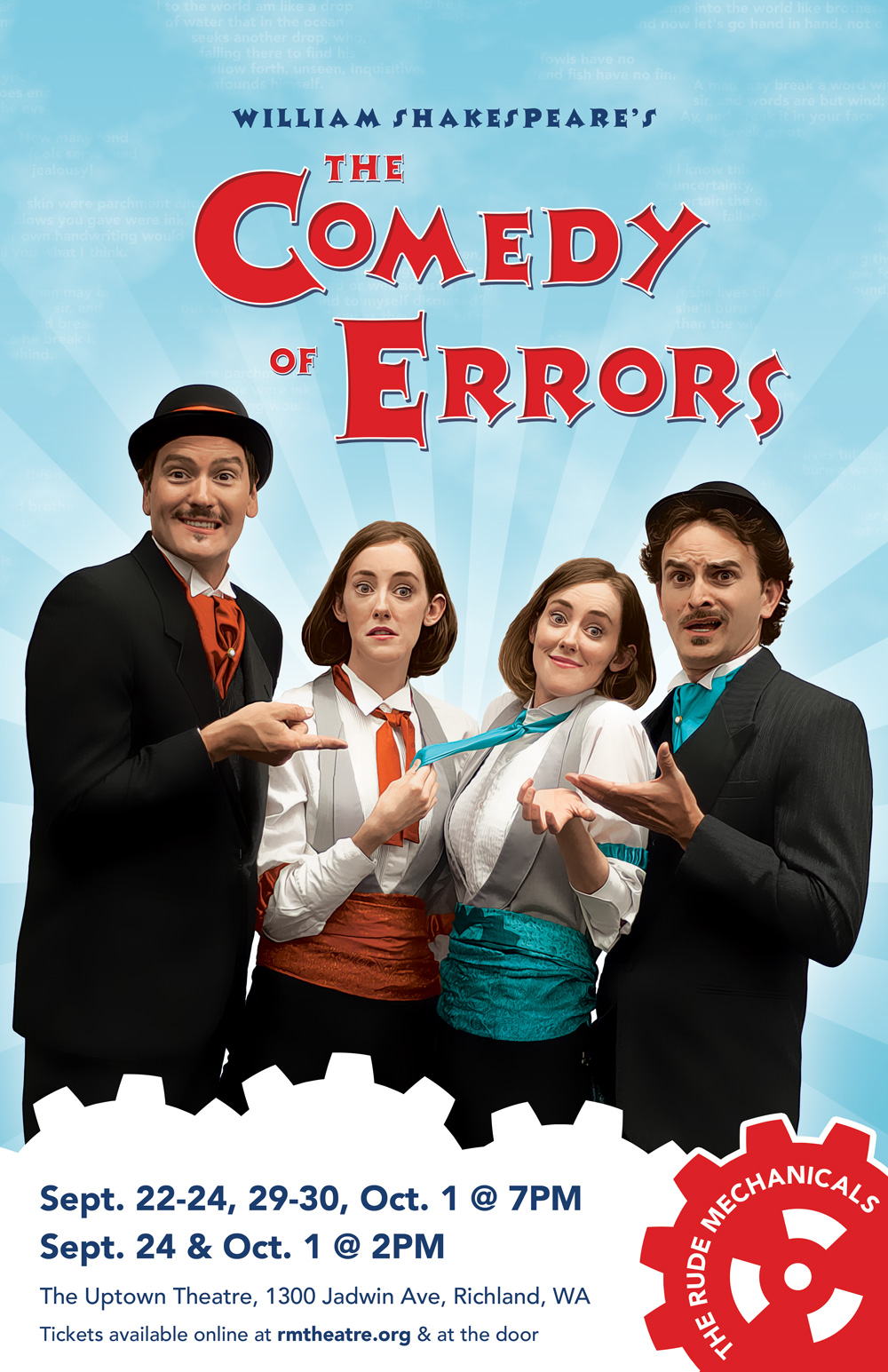 Patrick Killoran, Ashley Purvis, Hayley Purvis, and Cameron Milton star in The Rude Mechanicals' production of  The Comedy of Errors .