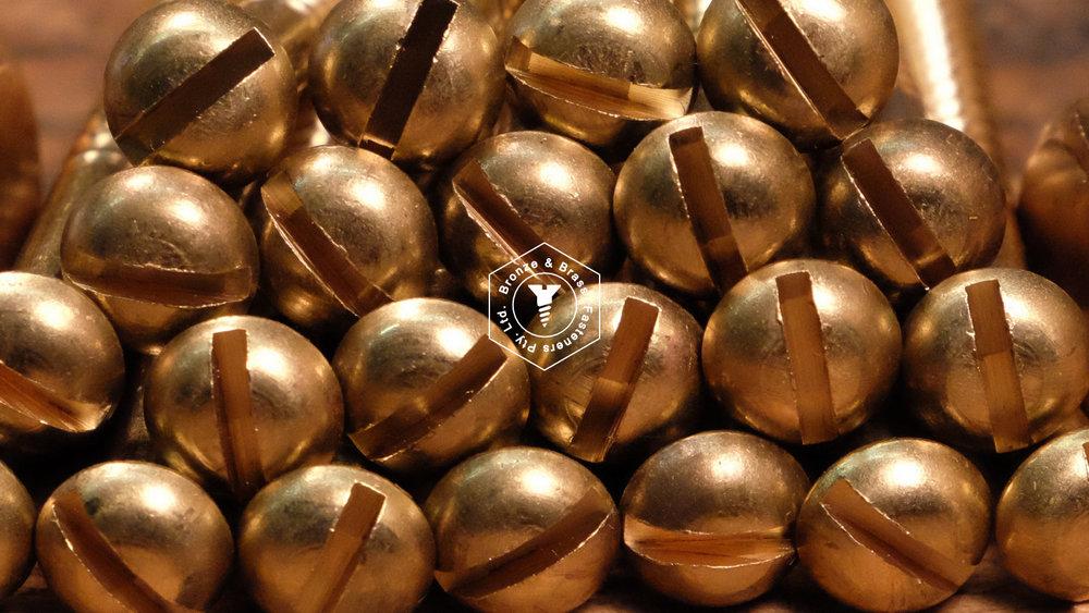 Brass Round Head Wood Screws - Cut Thread