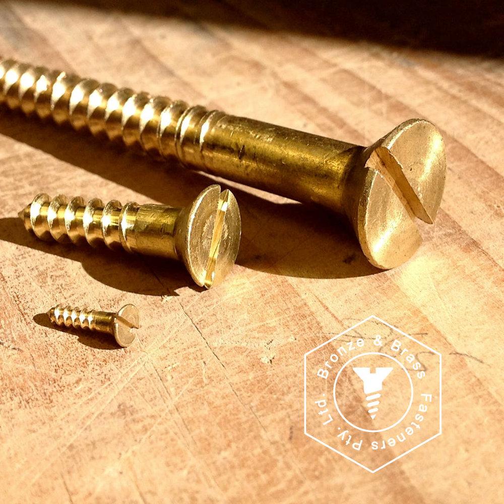 Brass Flat Head Wood Screws - Cut Thread - (UK Counter Sunk)