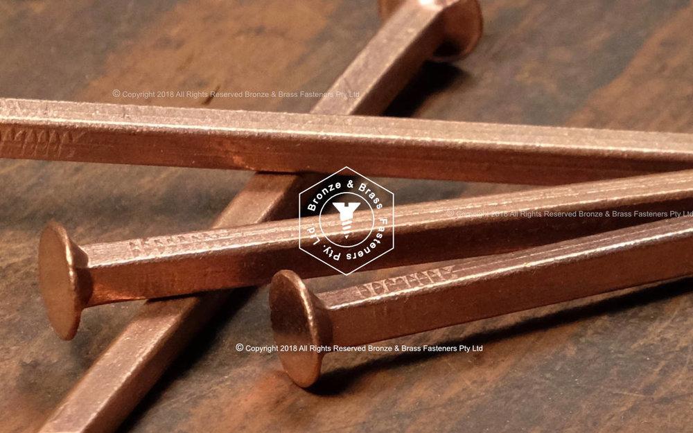 Copper square boat nails.