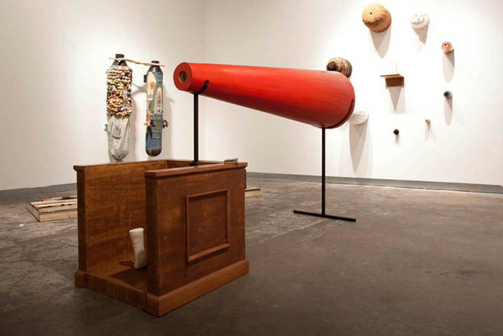 mao_2.jpeg_to bear witness 2011. wood steel resin stain rust bible. megaphone is 73x32x5 inches..jpg