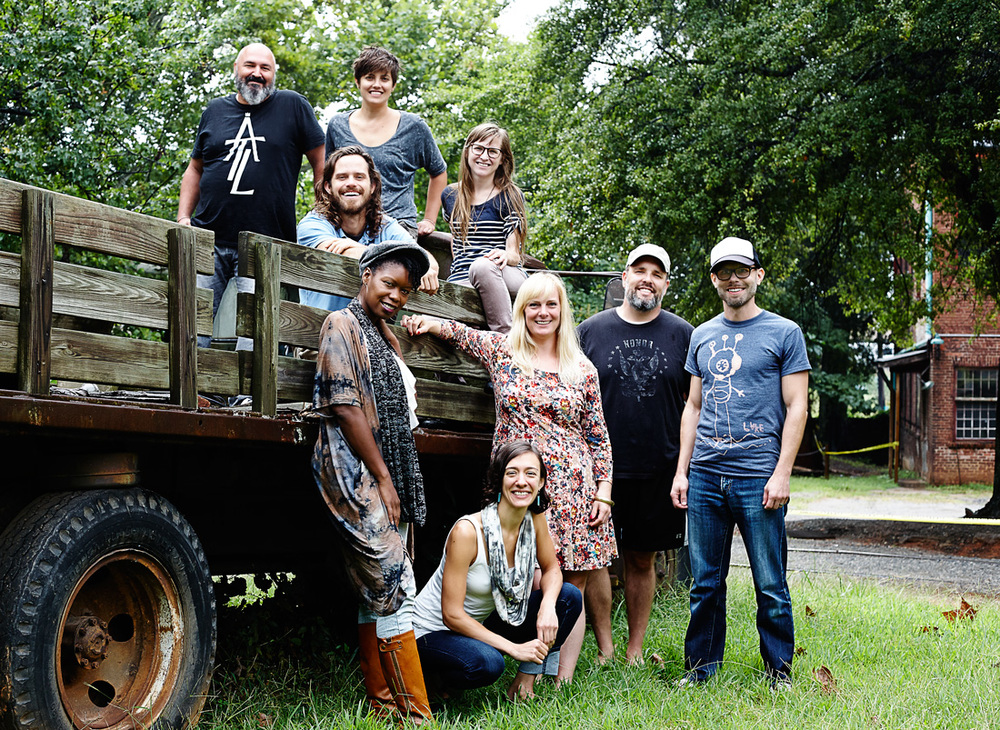 TCP's newest crop of resident artists Joseph Dreher, Meta Gary, Meredith Kooi, William Massey, Shanequa Gay, Margaret Hiden, John Tindel, Scott Silvey, and Rachel Garceau hanging out at the Goat Farm Arts Center. photo by:  Neda Abghari