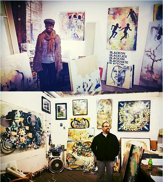 "Pictured above 2015-17 TCP resident artists Shanequa Gay and John Tindel hanging out at their Goat Farm Studios during the annual winter open studio sale. ""The act of creating is great for the mind, body, & soul. It's a wonderful thing to have a place that nurtures this through a diverse array of artists, AND gives back to the community. This is one of those rare win/win situations in which artists receive much needed space, Atlanta's youth are connected with creative professional mentors, and the community at large receives art that is engaging and inspirational."" - Jerushia Graham TCP ""Artist-in-Studio"" alumnus"