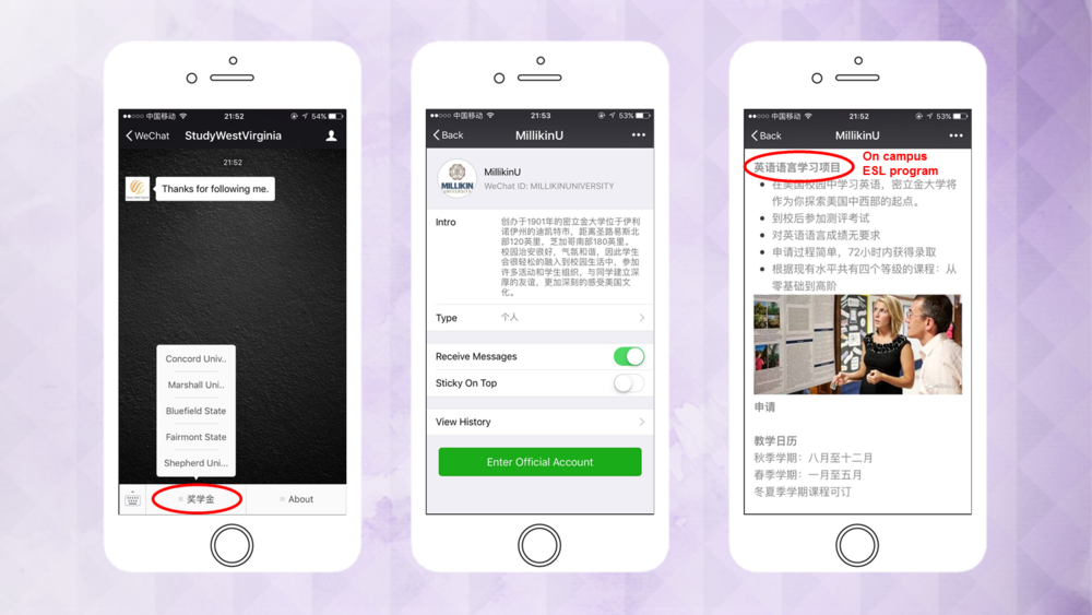 WeChat accounts managed by Sunrise.