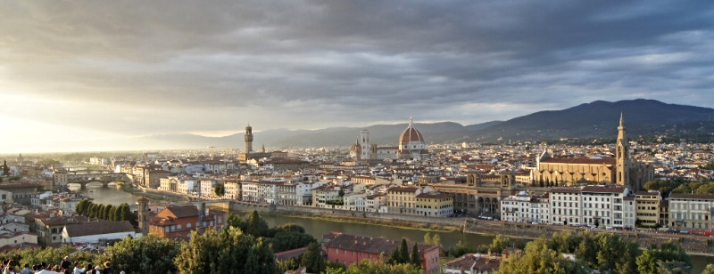Looking over Florence and the Arno River at sunset from the Piazzale Michelangelo.