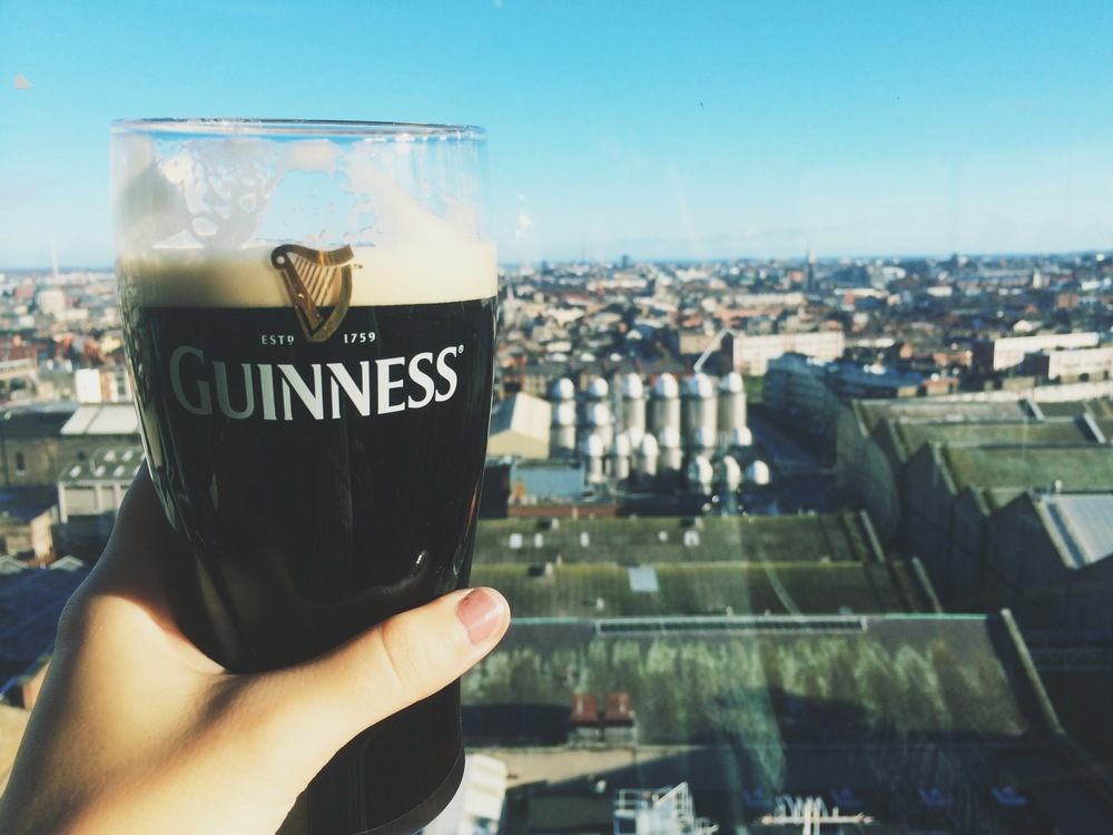 we got to tour the Guinness Brewery in Dublin!at the end of it, we got to enjoya free pint on the top floor, which was a round room with windows as walls, overlooking the whole city! one of our favorite moments of the whole trip, for sure.
